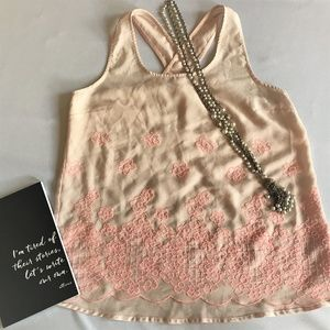 Charming Charlie Pink Floral Tank Top